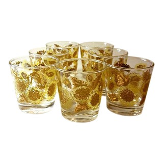 Culver Style Gold & Yellow Flowered Tumblers - Set of 7