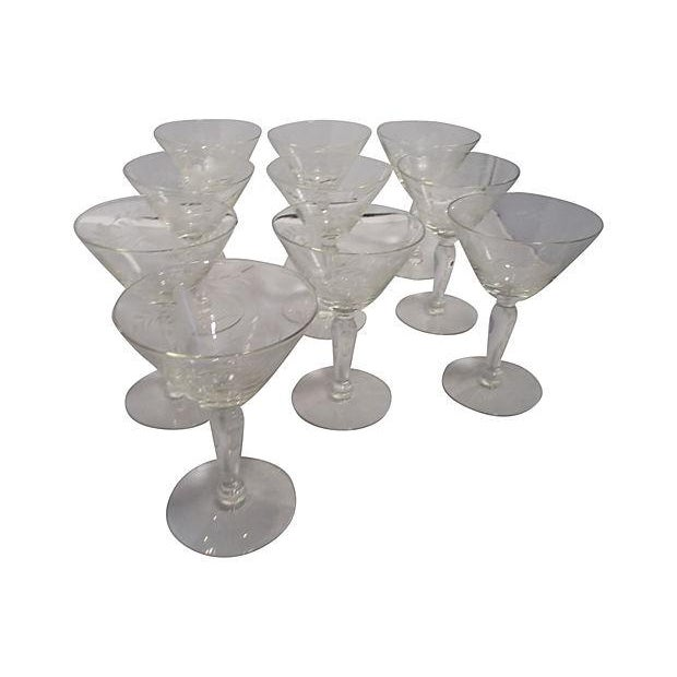 Etched Glass Martini Set - Set of 11 - Image 3 of 6
