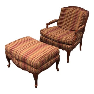 Custom Bergere Chair & Ottoman - A Pair