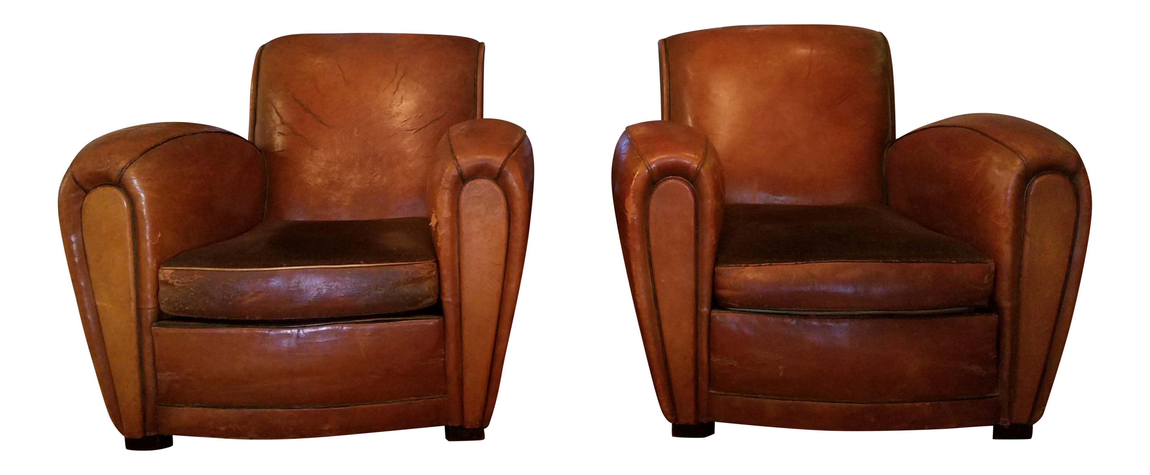 vintage art deco distressed leather club chairs - pair | chairish