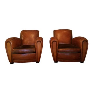 Vintage Art Deco Distressed Leather Club Chairs - Pair