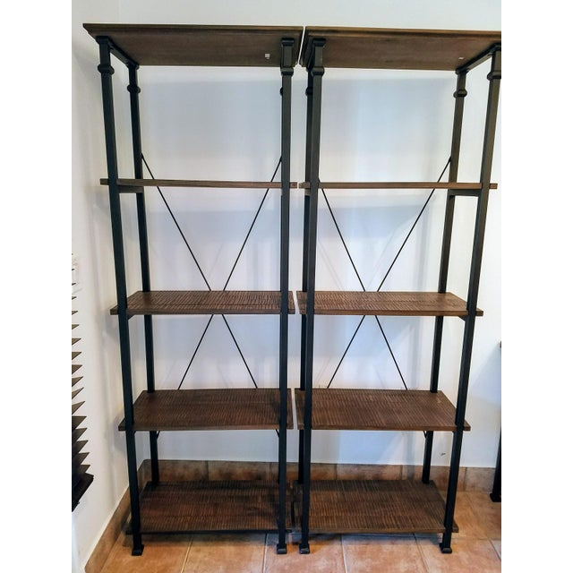 Image of Vintage Modern Rustic Bookcases - A Pair