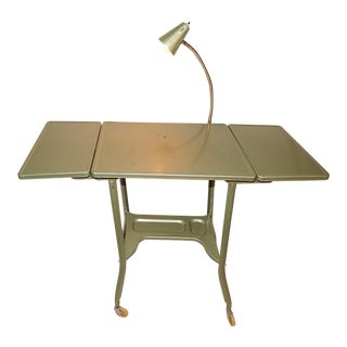 Mid-Century Green Metal Typewriter Table With Gooseneck Lamp