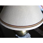 Image of Mid-Century Brass Table Lamp & Silk Shade