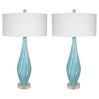 Vintage Blue Opaline Murano Lamps - A Pair