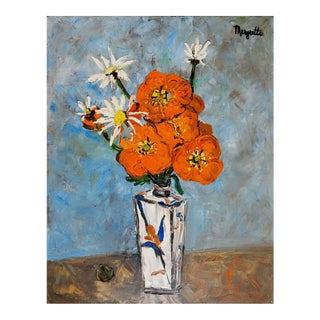 Modernist Orange Floral Still Life Oil Painting