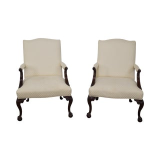Sherrill Chippendale Style Mahogany Arm Chairs - A Pair