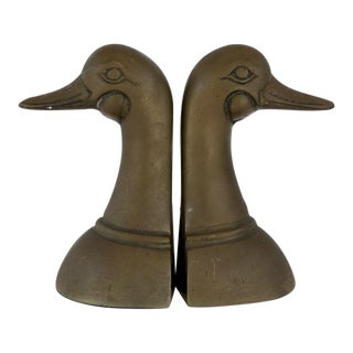 Patinized Brass Duck Bookends - A Pair