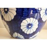Image of Stylized Floral Blue & White Bulbous Ceramic Vase