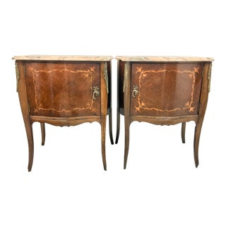 French Inlaid Marble Top Side Tables - A pair