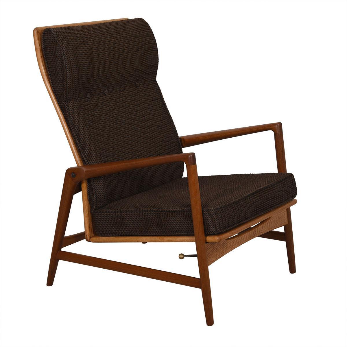Kofod Larsen Danish Modern Teak Adjustable Lounge Chair With Ottoman    Image 2 Of 10