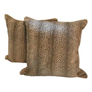 Schumacher Nakuru Linen & Velvet Safari Pillow Covers - a Pair