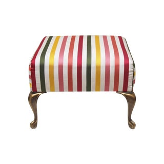 Silk Striped Footstool with Brass Legs
