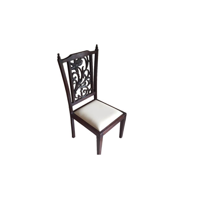 Teak Wood Carved Back Dining Chairs - Set of 6 - Image 5 of 5
