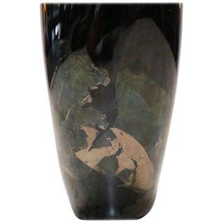 Organic Black Glass Vase with Iridescent Overlay