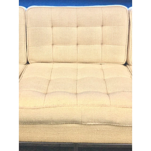 Mid-Century Modern Florence Knoll Cream Colored Wool and Chrome Three Seat Sofa - Image 6 of 7