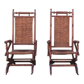 Pair of Rustic 19th Century Platform Rocking Chairs