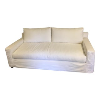 White Canvas Slip Covered Sofa