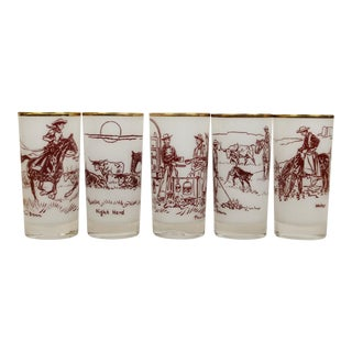 Paul Desmond Brown Cowboy Frosted Highball Glasses - Set of 5