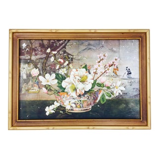 Vintage Gold Faux Bamboo Framed Print