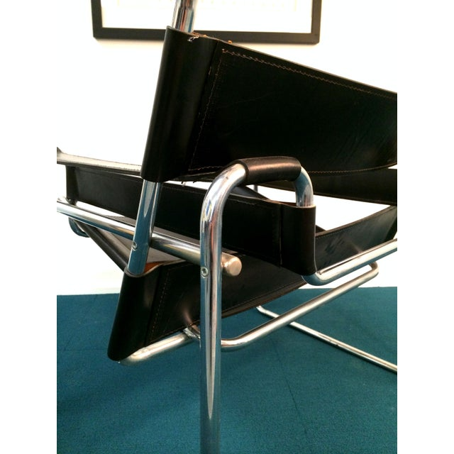 Wassily Style Chair in Black Leather and Chrome - Image 8 of 8