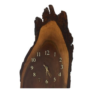 Tall Live Edge Redwood Slab Table Clock