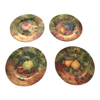 Limoges Fruit Motif Dessert Plates - Set of 4