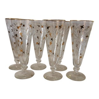 Tall Gold & White Glasses, Set of 6