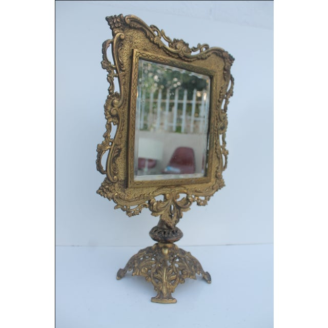 Antique French Ornate Gilt Metal Table Mirror - Image 10 of 11