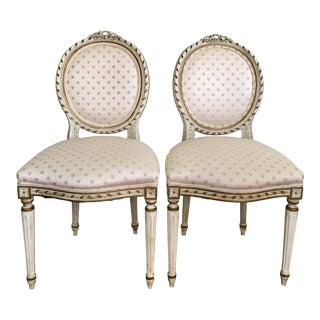 Vintage French Bee Side Chairs - a Pair