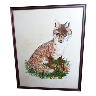Framed Embroidered Fox