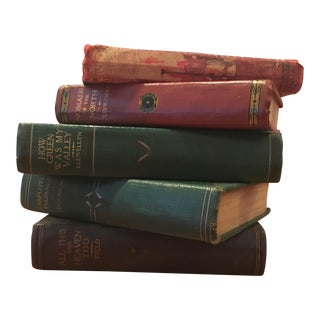 Vintage Green and Red Books - Set of 5