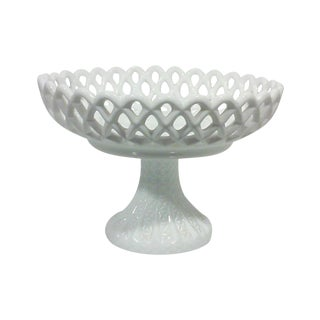 Milk Glass Basket Weave Compote