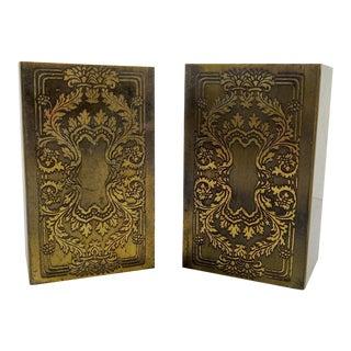Brass Etched Classical Renaissance Design Bookends - A Pair