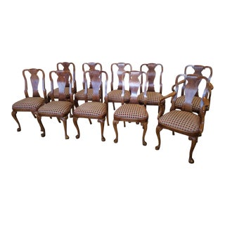 Set 10 Burl Walnut Queen Anne Style Dining Room Chairs by Agostino c1980s