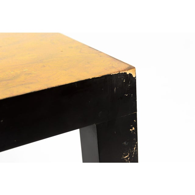 Olive Burl & Black Lacquer Parsons Console Table - Image 5 of 6