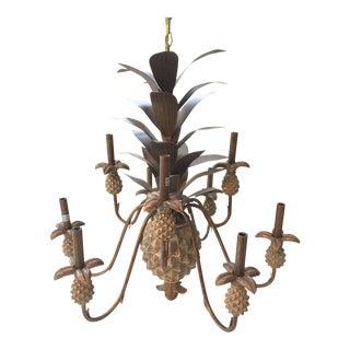 Hollywood Regency Metal Pineapple 9-Arm Chandelier