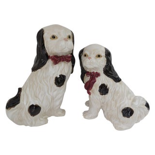 Porcelain Spaniel Figurines - Pair