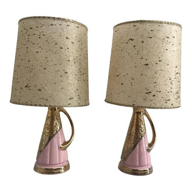 Pink & Gold Vintage Lamps - A Pair - Image 1 of 9