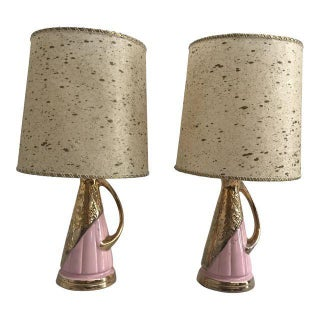 Pink & Gold Vintage Lamps - A Pair