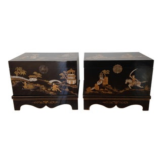 Vintage Chinese Laquered Chests - A Pair