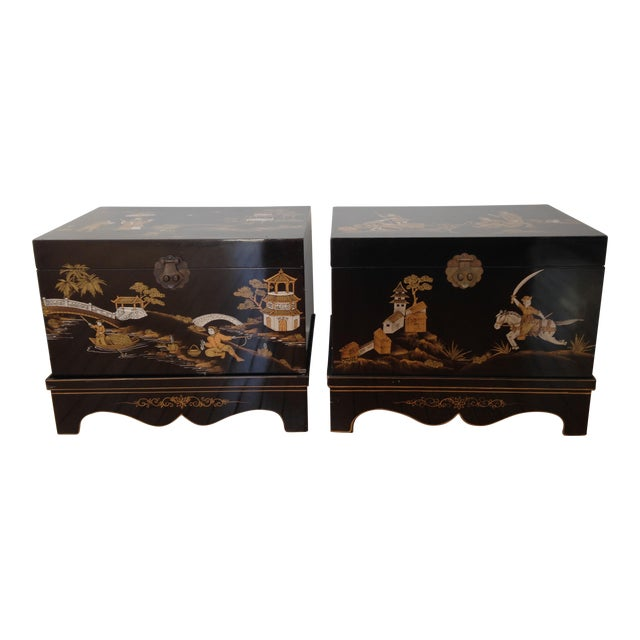 Vintage Chinese Laquered Chests - A Pair - Image 1 of 11