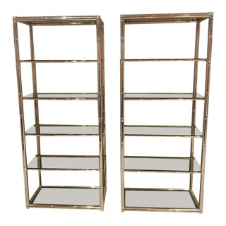 Faux Bamboo Brass Etagere Display Shelves - A Pair