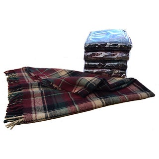 Vintage Faribault Plaid Pak a Robe Wool Blankets - Set of 5