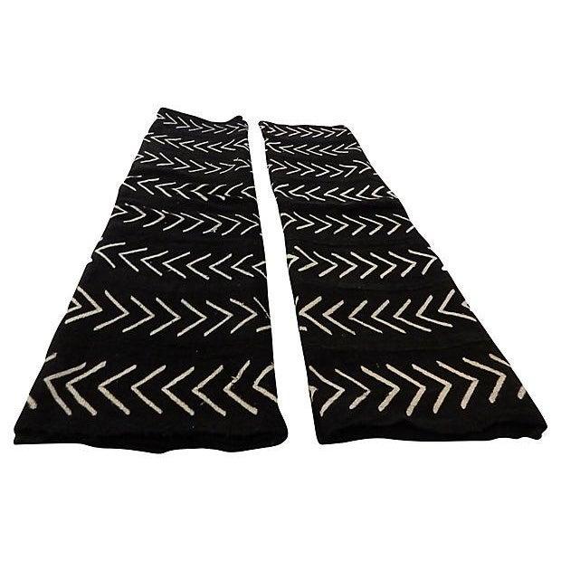 Image of Malian Black & White Mud Cloth Textiles - A Pair