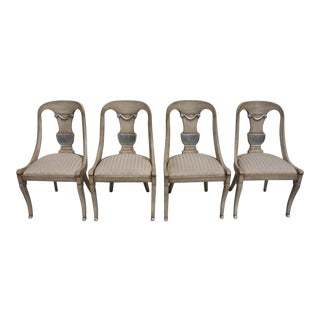 Italian Hollywood Regency Carved Wood Dining Chairs - Set of 4