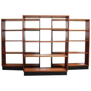 Mid-Century Custom Mahogany Book Shelves with Ebonized Plinth Bases