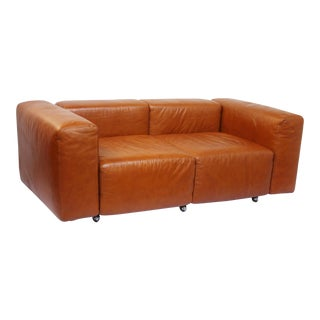 Leather Modular Loveseat / Small Sofa by Harvey Probber