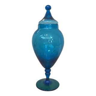 Vintage Blue Art Glass Pedestal Urn