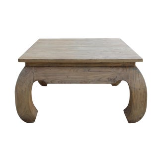 Square Unfinished Raw Wood Curved Legs Coffee Table